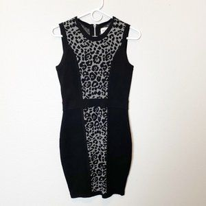Milly Leopard Stretch Knit Sleeveless Dress Small